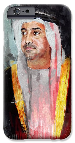 Chairmen iPhone Cases - Portrait of Sultan bin Khalifa al Nahyan iPhone Case by Maryam Mughal