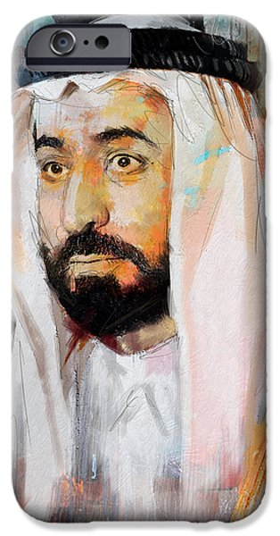 Chairmen iPhone Cases - Portrait of Sultan bin Mohammad al Qasimi iPhone Case by Maryam Mughal