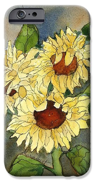 Pen And Ink iPhone Cases - Portrait of Sunflowers iPhone Case by Maria Hunt