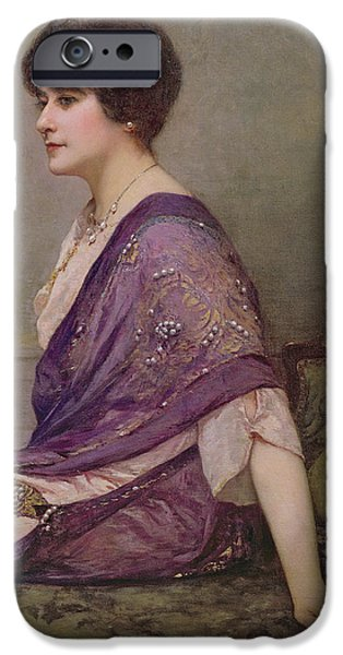 Madame iPhone Cases - Portrait of th ecourturier Madame Paquin iPhone Case by Henri Gervex