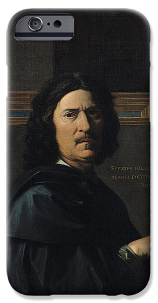 Painter Photographs iPhone Cases - Portrait Of The Artist, 1650 Oil On Canvas iPhone Case by Nicolas Poussin