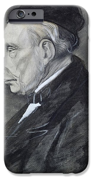 Drawing Pastels iPhone Cases - Portrait of the Artists Grandfather iPhone Case by Vincent Van Gogh