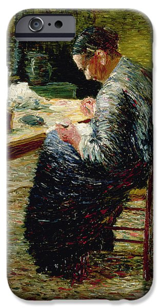 Neo iPhone Cases - Portrait Of The Artists Mother Sewing, 1885 iPhone Case by Charles Angrand