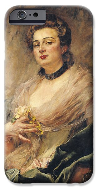 Choker iPhone Cases - Portrait Of The Artists Wife Oil On Canvas iPhone Case by Eduardo-Leon Garrido