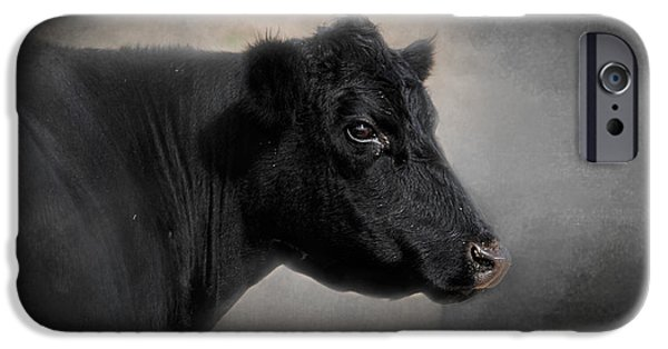 Black Angus iPhone Cases - Portrait of the Black Angus iPhone Case by Jai Johnson
