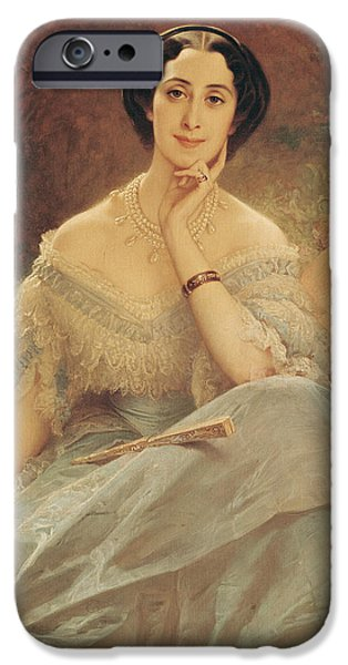 Madame iPhone Cases - Portrait of the Countess of Hallez-Claparede iPhone Case by Edouard Louis Dubufe