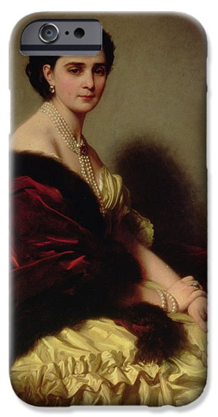 Countess iPhone Cases - Portrait of the Countess Sophie Naryshkina iPhone Case by Franz Xaver Winterhalter