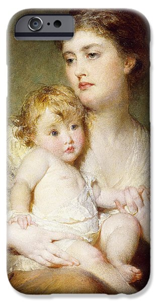 Mid Adult iPhone Cases - Portrait of the Duchess of St Albans with her Son iPhone Case by George Elgar Hicks