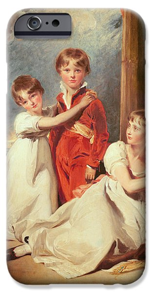 Greyhound Photographs iPhone Cases - Portrait Of The Fluyder Children, 1805 Oil On Canvas iPhone Case by Sir Thomas Lawrence