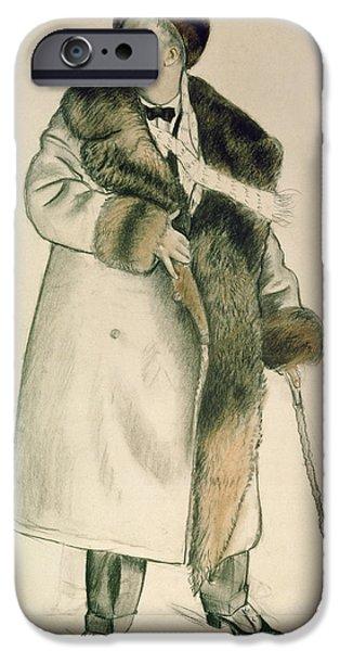 Signed Pastels iPhone Cases - Portrait of the Opera Singer Feodor Ivanovich Chaliapin iPhone Case by Boris Mihajlovic Kustodiev