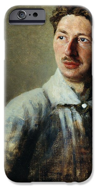 Mustaches iPhone Cases - Portrait of the poet Sergey Gorodetsky iPhone Case by Ivan Kirillovich Parkhomenko