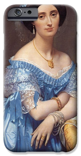 Silk iPhone Cases - Portrait of the Princesse de Broglie iPhone Case by Jean Auguste Dominique Ingres