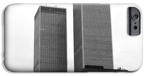 The Twin Towers Of The World Trade Center iPhone Cases - Portrait of the Towers 1990s iPhone Case by John Rizzuto