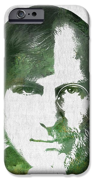 Computer Mixed Media iPhone Cases - Portrait of the young and old Steve Jobs  iPhone Case by Aged Pixel