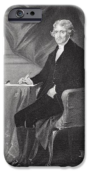 Politician iPhone Cases - Portrait of Thomas Jefferson iPhone Case by Alonzo Chappel