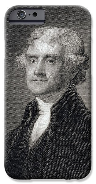 Politician iPhone Cases - Portrait of Thomas Jefferson iPhone Case by Henry Bryan Hall