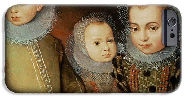Laces iPhone Cases - Portrait Of Three Tudor Children iPhone Case by F.f.