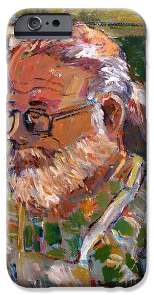 Tim Paintings iPhone Cases - Portrait of Tim iPhone Case by Charlie Spear