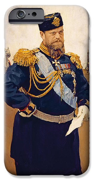 Russian iPhone Cases - Portrait Of Tsar Alexander Iii, 1900 Oil On Canvas iPhone Case by Valentin Aleksandrovich Serov