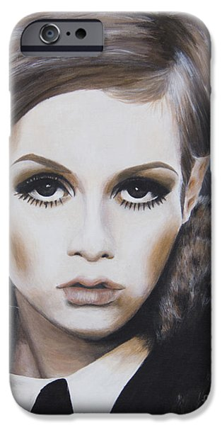 Twiggy Paintings iPhone Cases - Portrait of Twiggy iPhone Case by Moe Notsu