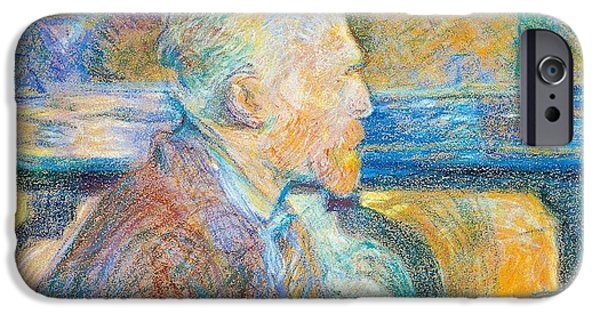 19th Century iPhone Cases - Portrait of Vincent van Gogh iPhone Case by Henri de Toulouse Lautrec