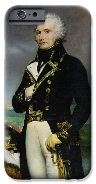 Sombre iPhone Cases - Portrait Of Viscount Alexandre-francois-marie De Beauharnais 1760-94 After A Painting By J. Guerin iPhone Case by Georges Rouget