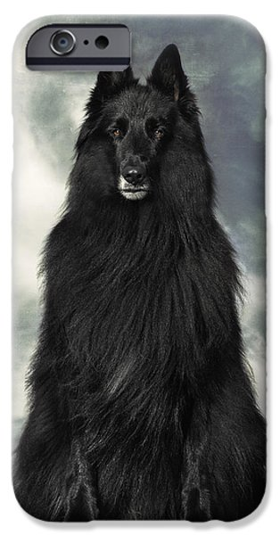 Black Dog iPhone Cases - Portrait of WolfCub Belgian Shepherd Groenendael iPhone Case by Wolf Shadow  Photography
