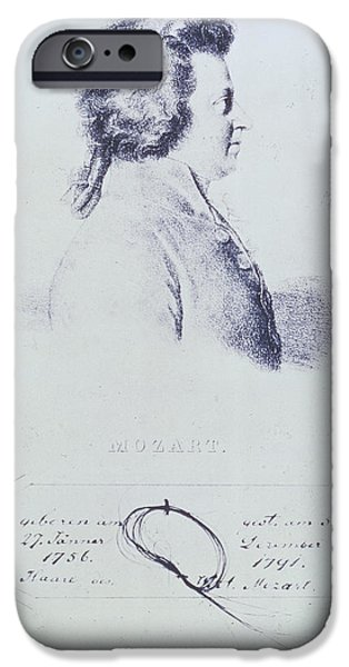 Profile iPhone Cases - Portrait Of Wolfgang Amadeus Mozart 1756-91 With A Lock Of His Hair Attached Below Engraving iPhone Case by Austrian School