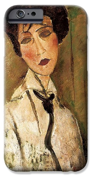 Clemente Paintings iPhone Cases - Portrait of Woman with Black Tie iPhone Case by Amedeo Modigliani