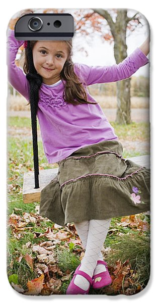 Portrait Of Young Girl On Swing iPhone Case by Vast Photography