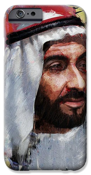 Chairmen iPhone Cases - Portrait of Zayed bin Sultan al Nahyan iPhone Case by Maryam Mughal