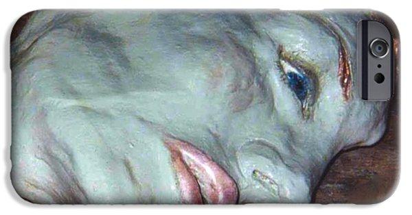 Copper Ceramics iPhone Cases - Portrait Sculpture iPhone Case by Joan-Violet Stretch