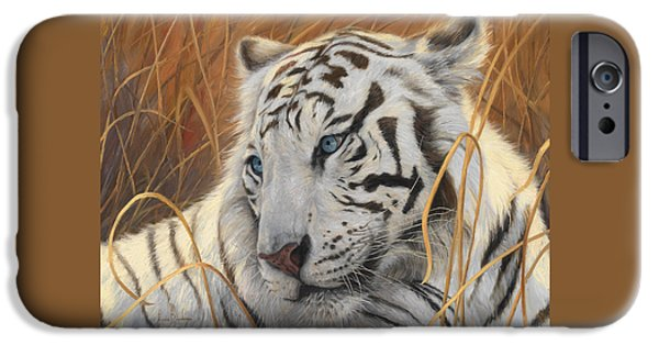 Bengal Tiger iPhone Cases - Portrait White Tiger 1 iPhone Case by Lucie Bilodeau