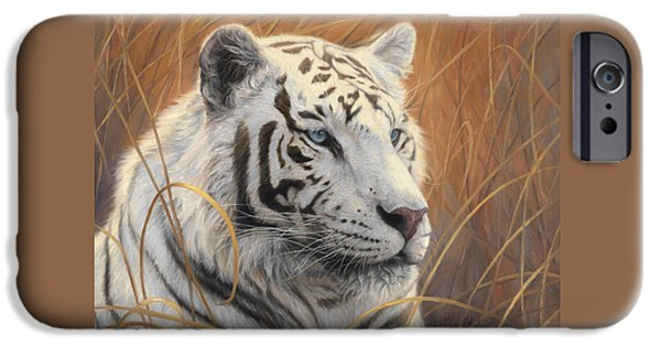 Bengal Tiger iPhone Cases - Portrait White Tiger 2 iPhone Case by Lucie Bilodeau