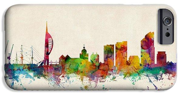 Great Britain iPhone Cases - Portsmouth England Skyline iPhone Case by Michael Tompsett