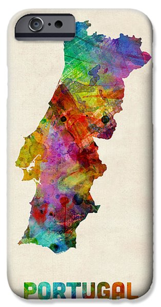 Portuguese iPhone Cases - Portugal Watercolor Map iPhone Case by Michael Tompsett