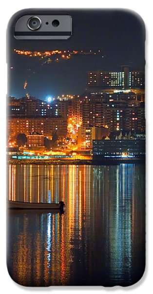 River View iPhone Cases - Portugalete At Night With City Lights And Reflections iPhone Case by Mikel Martinez de Osaba
