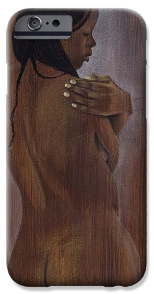 Graphite Drawing Pastels iPhone Cases - Pose 3 iPhone Case by Billy Moro-Wey