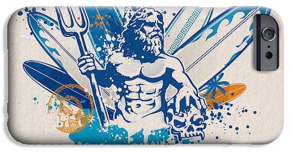 Zeus Mixed Media iPhone Cases - Poseidon Surfer With Skull iPhone Case by Domenico Condello