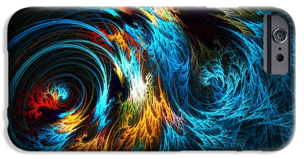Abstract Waves iPhone Cases - Poseidons Wrath iPhone Case by Lourry Legarde