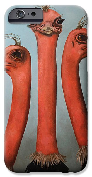 Ostrich iPhone Cases - Posers 2 iPhone Case by Leah Saulnier The Painting Maniac