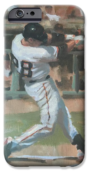 Baseball Art Paintings iPhone Cases - Posey Shot iPhone Case by Darren Kerr
