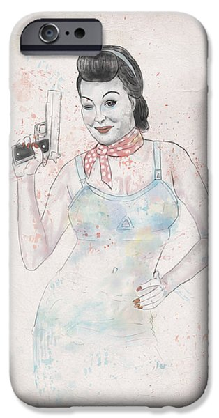 Girls Mixed Media iPhone Cases - Posing With Gun 2 iPhone Case by Balazs Solti