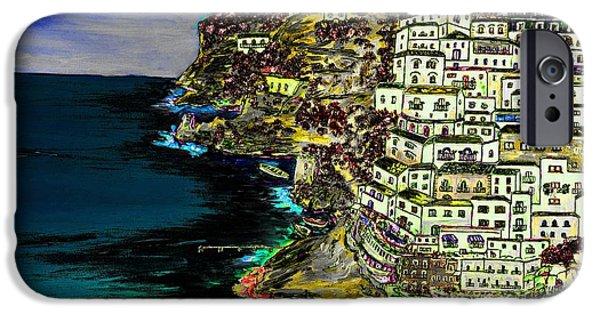 Buildings Mixed Media iPhone Cases - Positano at night iPhone Case by Loredana Messina