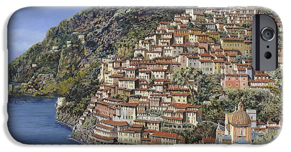 Pillow iPhone Cases - Positano e la Torre Clavel iPhone Case by Guido Borelli