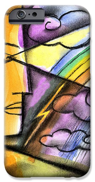 Thinking Paintings iPhone Cases - Positive Thinking iPhone Case by Leon Zernitsky