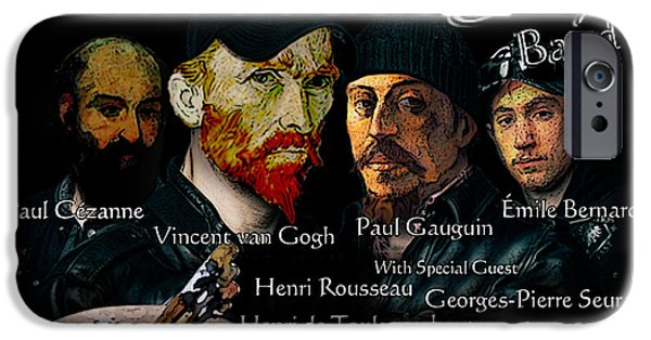 Toulouse-lautrec Drawings iPhone Cases - Post-Impressionist Tour - The Pere Tanguy Band iPhone Case by Jose A Gonzalez Jr
