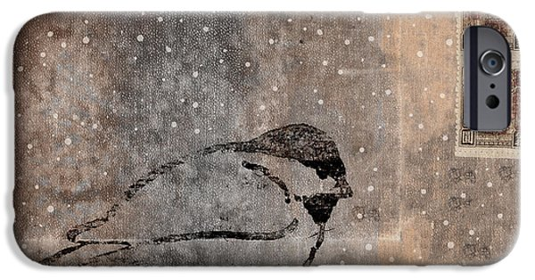 Postcard iPhone Cases - Postcard Chickadee in the Snow iPhone Case by Carol Leigh