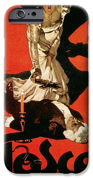 Red And Black iPhone Cases - Poster Advertising a Performance of Tosca iPhone Case by Adolfo Hohenstein