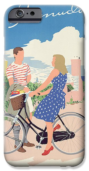 Couple iPhone Cases - Poster advertising Bermuda iPhone Case by Adolph Treidler